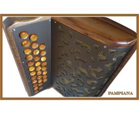 Acordeão PAMPIANA  Diatônica 12 Baixos Madeira Natural Veniz Tinsel